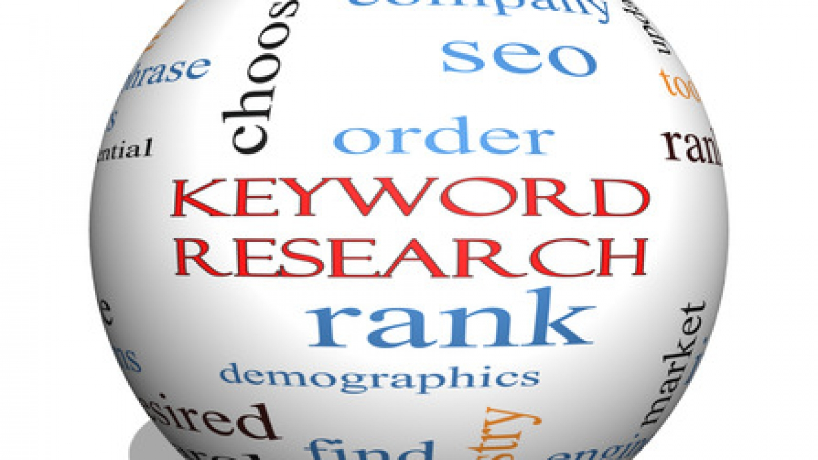 Keyword Research 3D sphere Word Cloud Concept