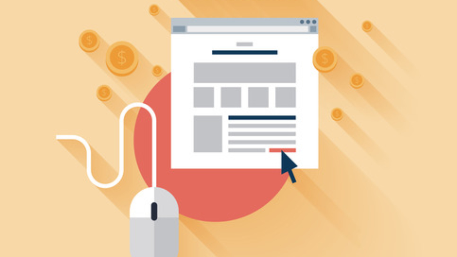 Flat design vector illustration concept of pay per click internet advertising model when the ad is clicked. Isolated on stylish background