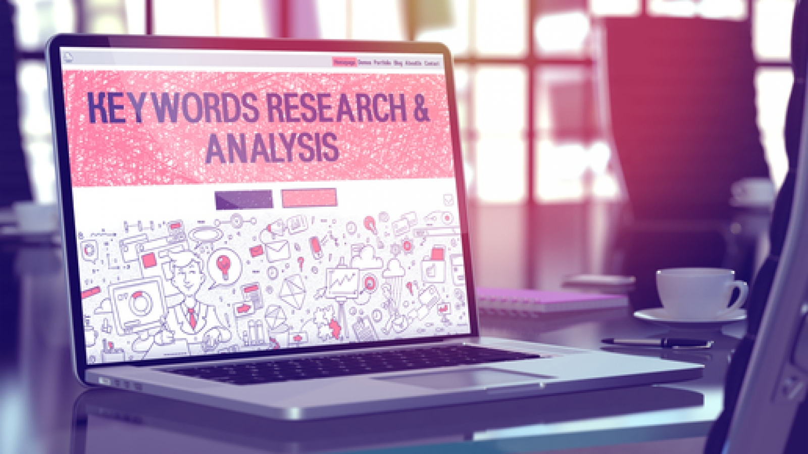 Laptop Screen with Keywords Research and Analysis Concept.