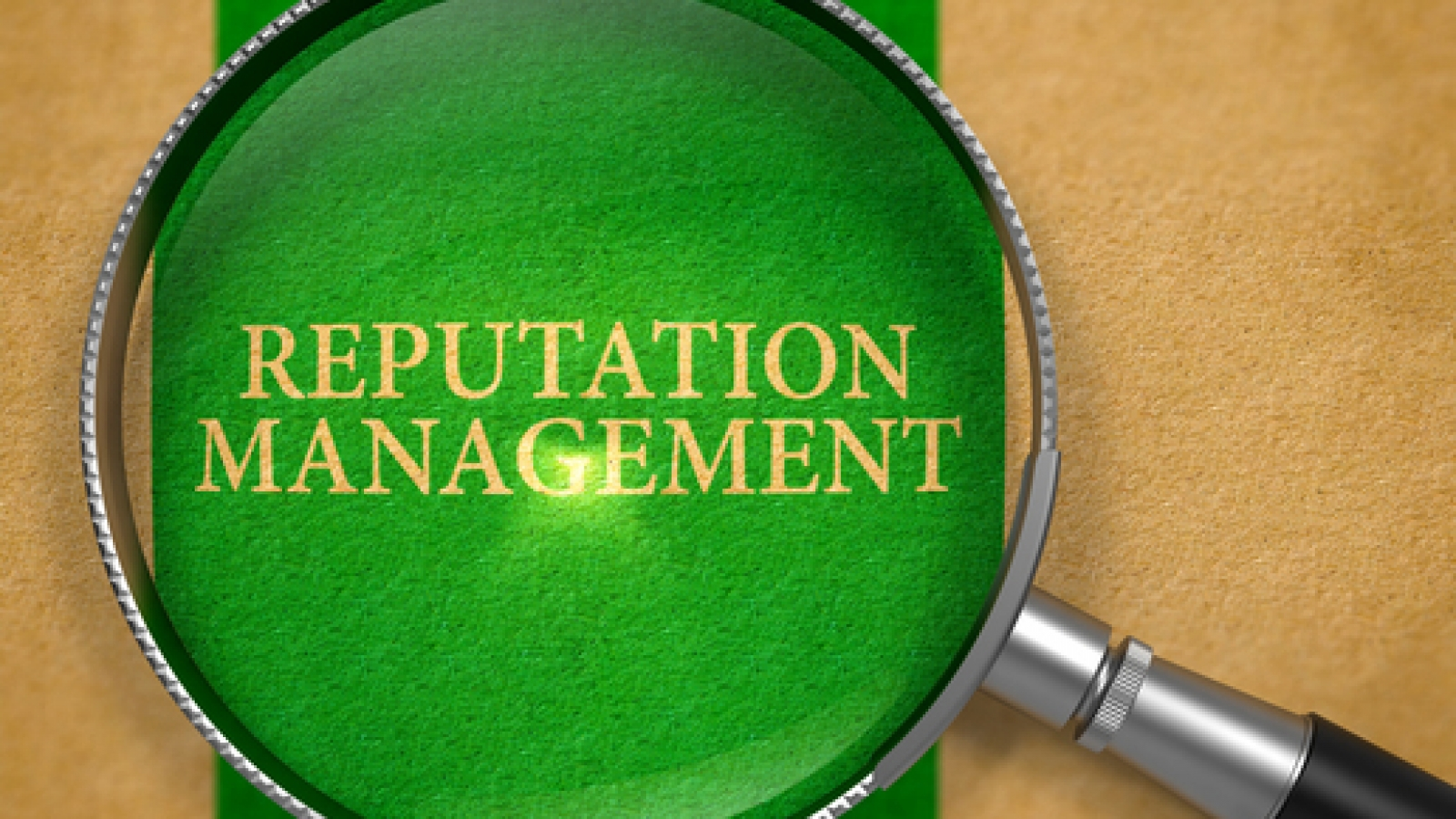 Reputation Management Concept through Magnifier on Old Paper with Green Vertical Line Background. 3D Render.