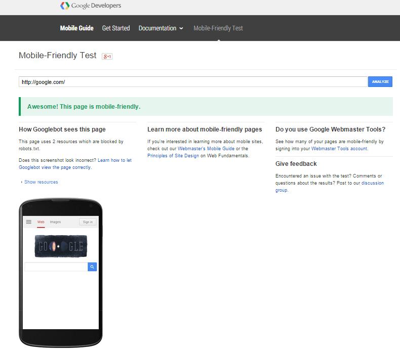 google_com mobile friendly test